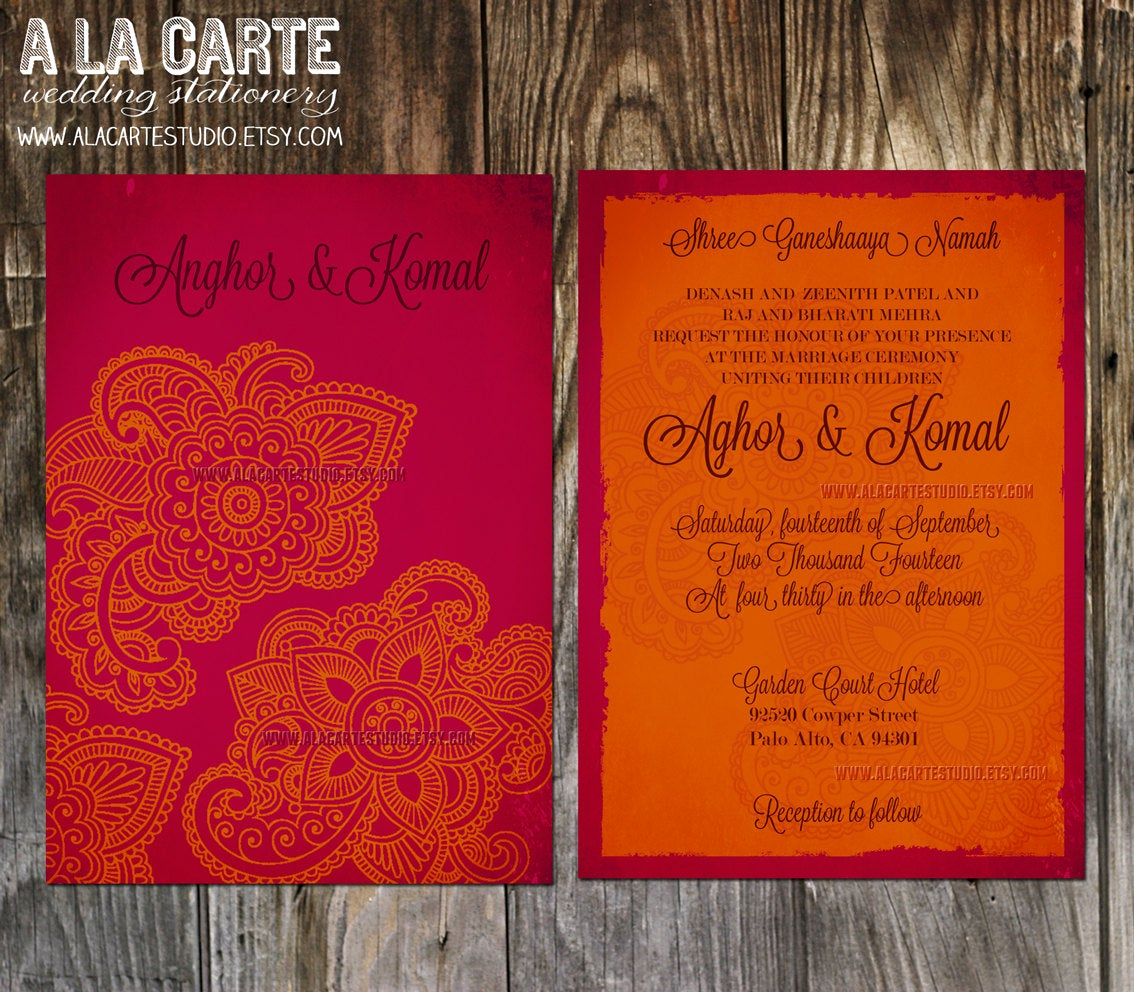 Indian Wedding Invitation Sample Best Of Indian Style Wedding Invitation In orange Red Indian Arabic
