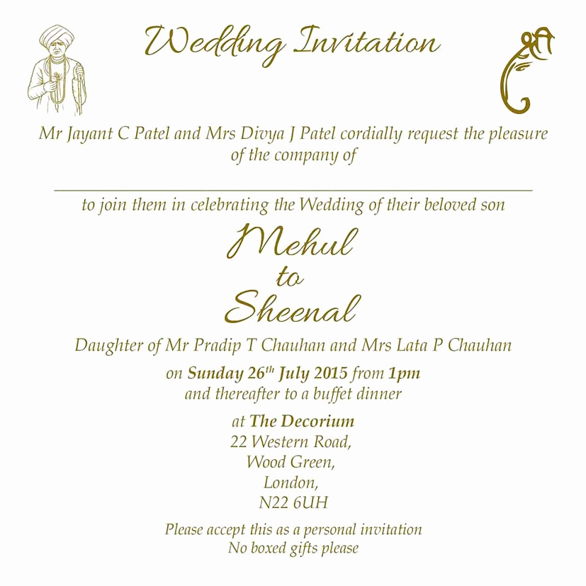 Indian Wedding Invitation Sample Luxury Hindu Wedding Invitation Wordings Here to View Our