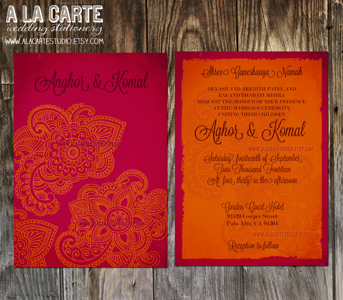 Indian Wedding Invitation Templates Elegant Indian Style Wedding Invitation In orange Red Indian Arabic