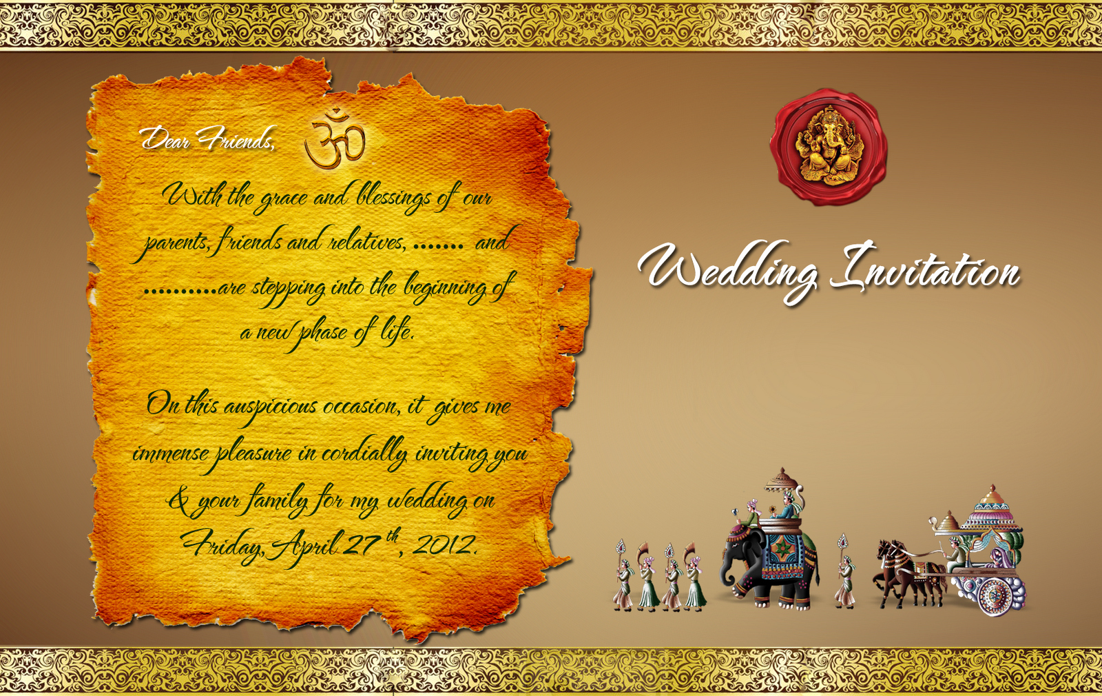 Indian Wedding Invitation Templates Elegant Indian Wedding Card Design Psd Files Free Wedding