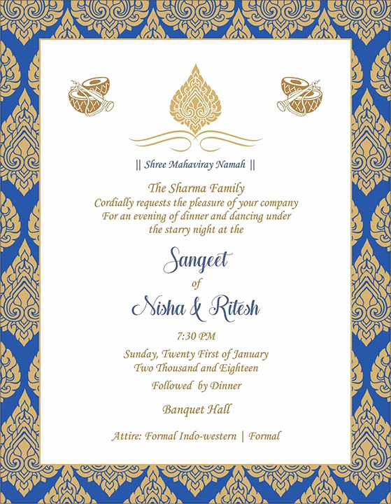 Indian Wedding Invitation Templates Inspirational Wedding Invitation Wording for Sangeet Ceremony