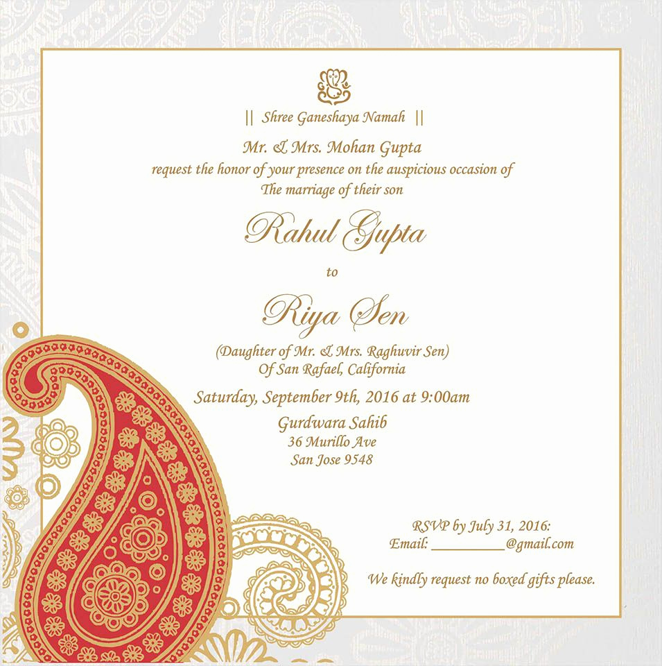 Indian Wedding Invitation Templates New Wedding Invitation Wording for Hindu Wedding Ceremony