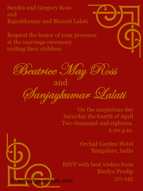 Indian Wedding Invitation Wording Fresh Indian Wedding Invitation Wording Samples Wordings and