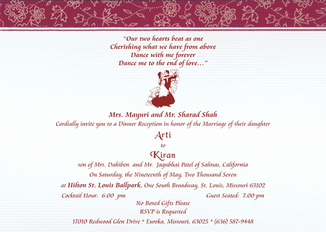 Indian Wedding Reception Invitation Wording Awesome Reception Samples Reception Printed Text Reception