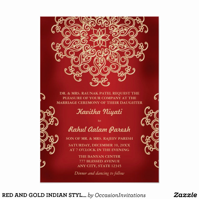 Indian Wedding Reception Invitation Wording Beautiful Red and Gold Indian Style Wedding Invitation