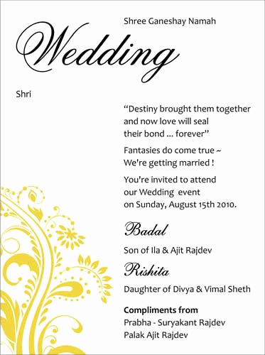 Indian Wedding Reception Invitation Wording Elegant Image Result for Wedding Invitation Card Content