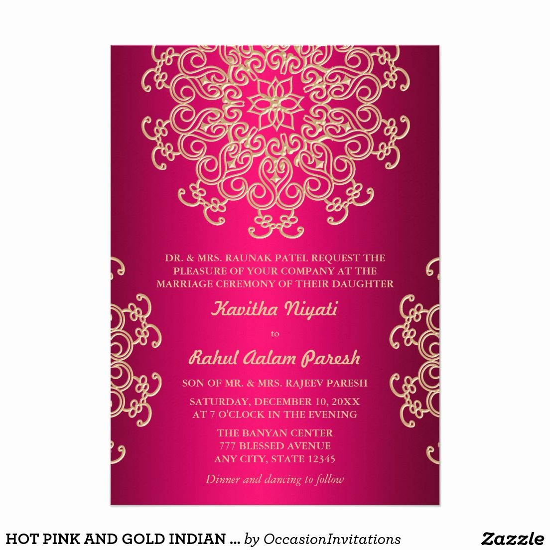 Indian Wedding Reception Invitation Wording Lovely Hot Pink and Gold Indian Style Wedding Invitation
