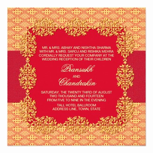 Indian Wedding Reception Invitation Wording Unique Indian Wedding Red and Yellow Reception Card
