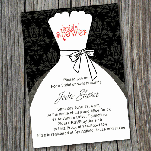 Inexpensive Bridal Shower Invitation Luxury Black and White Inexpensive Wedding Dress Bridal Shower