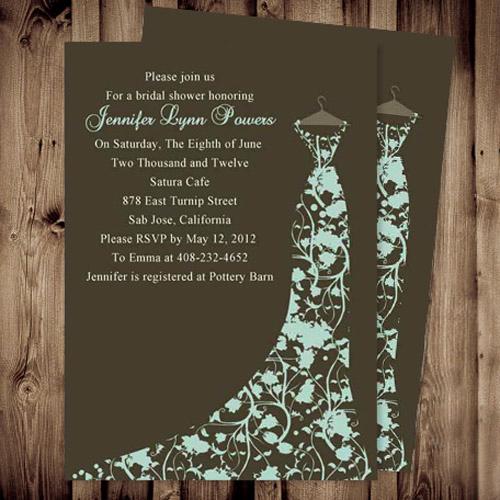 Inexpensive Bridal Shower Invitation Unique Cheap Brown Floral Gown Bridal Shower Invitations
