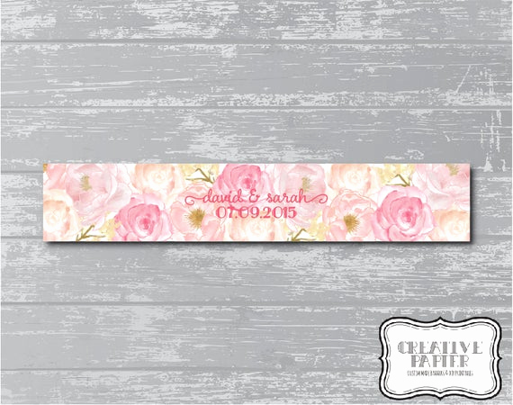 "Invitation Belly Band Diy Elegant Peony Flower Belly Band 11x2"" Diy Wedding Invitation Wrap"