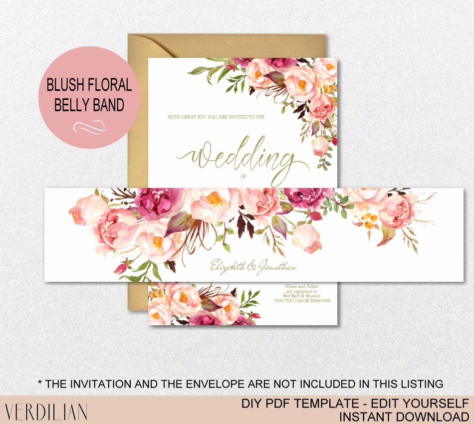 Invitation Belly Bands Diy Beautiful Floral Wedding Invitation Belly Band Template Wedding