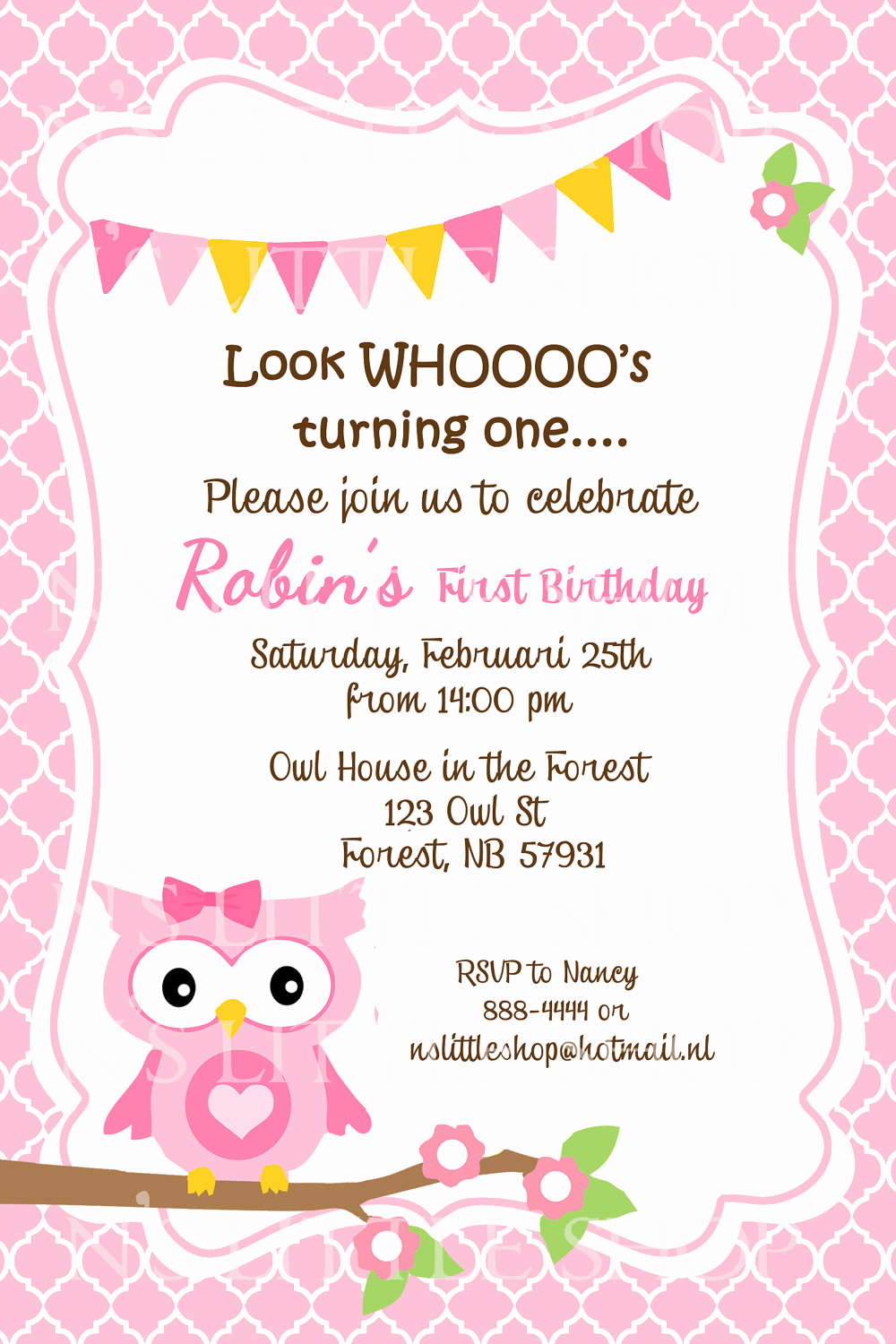Invitation Card for Birthday Awesome Pink Owl Birthday Invitation Card Customize by Nslittleshop
