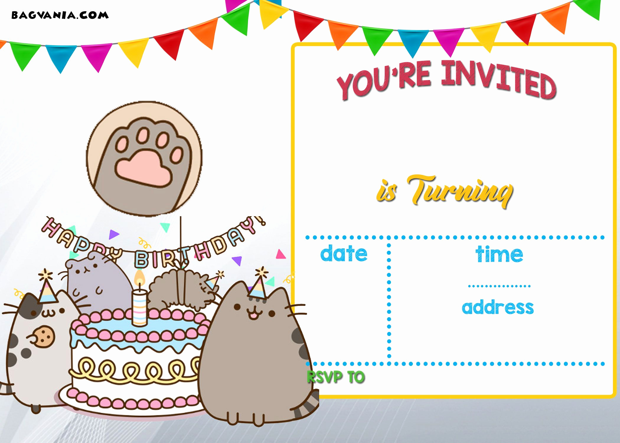 Invitation Card for Birthday Fresh Free Printable Pusheen Birthday Invitation Template