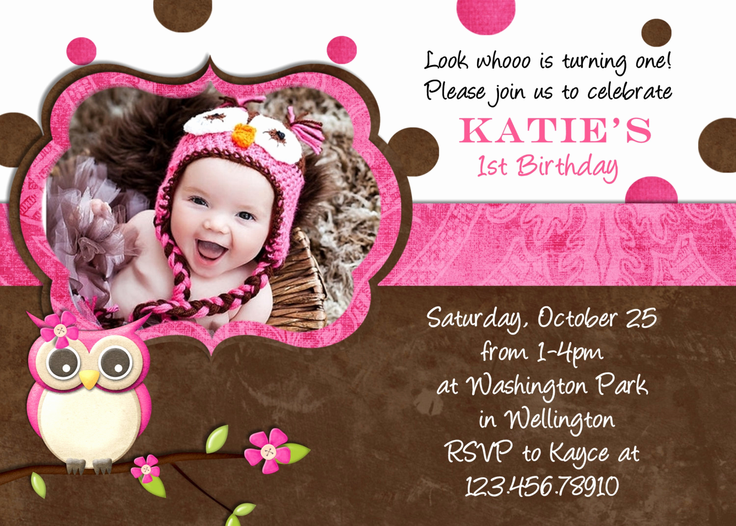 Invitation Card for Birthday Lovely Fall Owl Girl Birthday Invitation Card by 3peasprints