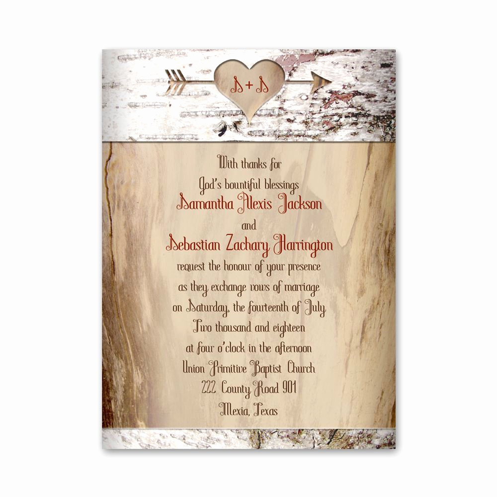 Invitation Card for Weddings Beautiful Aged Birch Petite Invitation