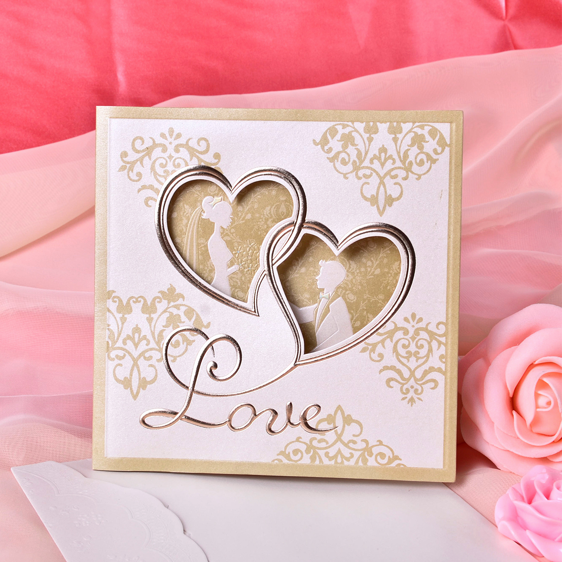 Invitation Card for Weddings Best Of Heart Style Tri Fold Invitation Cards Set Of 50