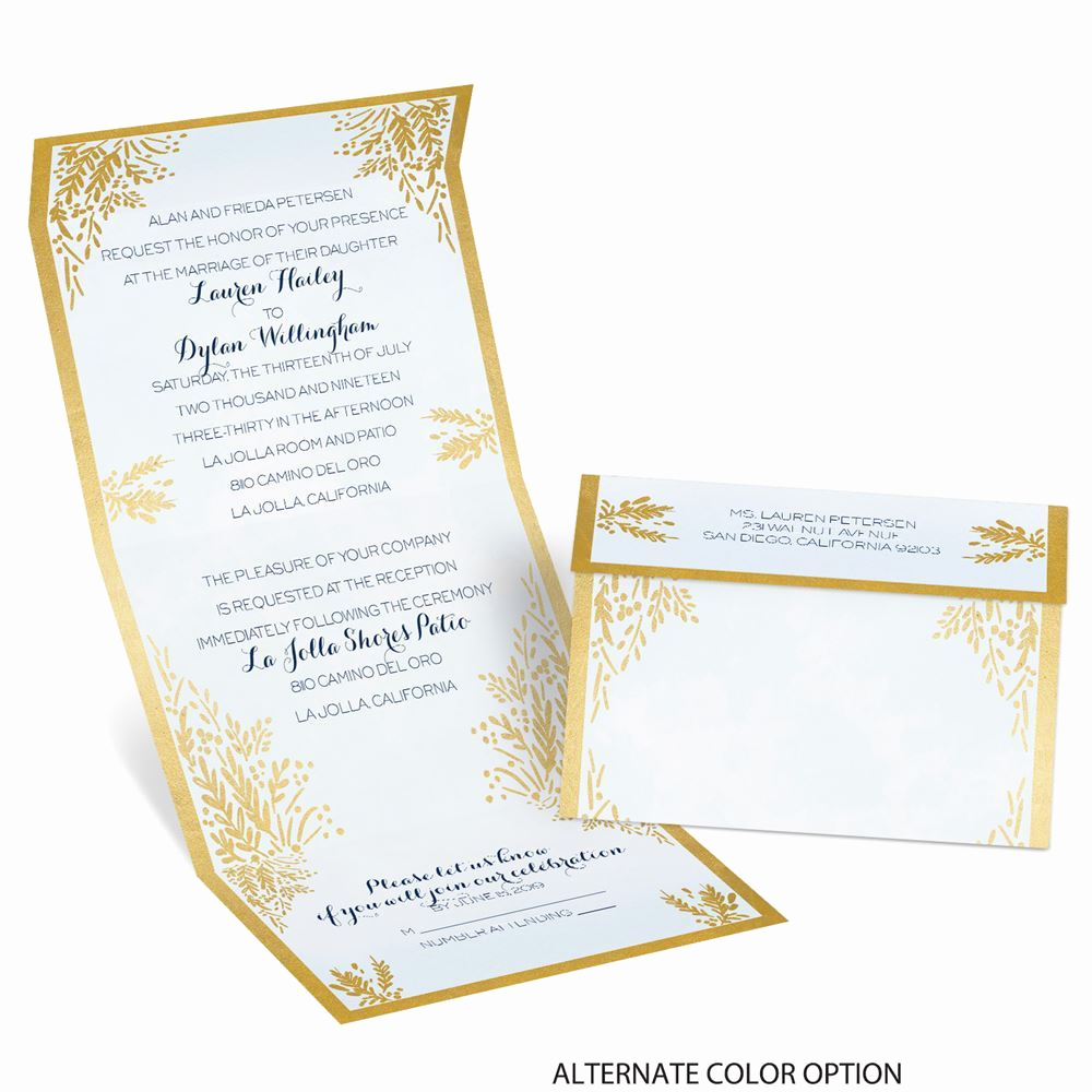 Invitation Card for Weddings Elegant Ferns Of Gold Seal and Send Invitation