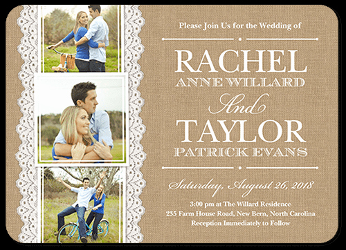 Invitation Card for Weddings Luxury Burlap and Lace 5x7 Wedding Invitations