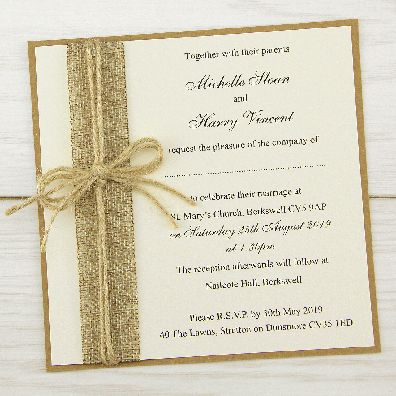 Invitation Card for Weddings New Rustic Burlap Layered Square