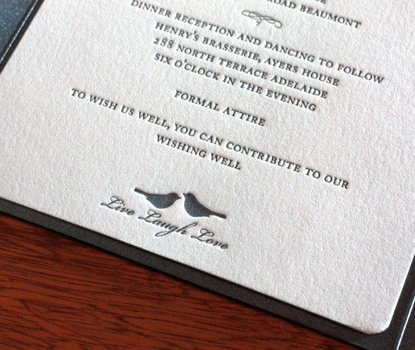 Invitation Dress Code Wording Awesome Grey Letterpress Lovebird Wedding Invitation with formal