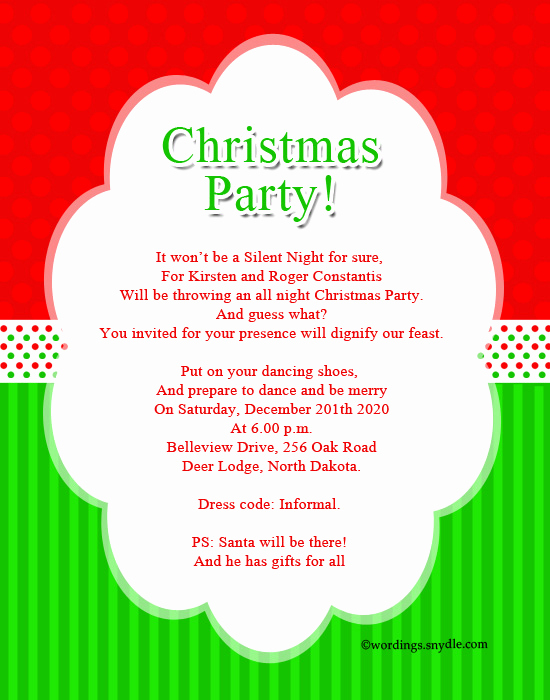 Invitation Dress Code Wording Elegant Christmas Party Invitation Wordings Wordings and Messages