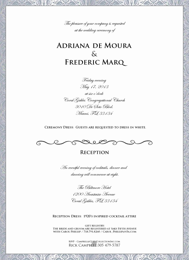Invitation Dress Code Wording Unique Adriana De Moura S Wedding Invitation Leaks Producers