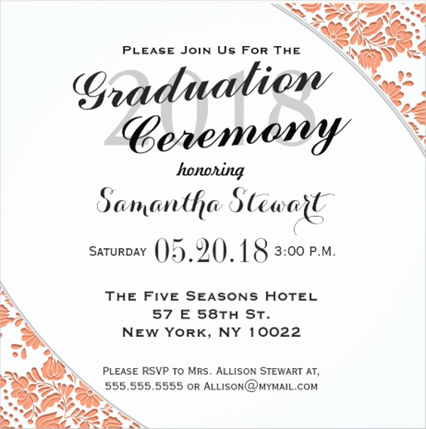 Invitation for Graduation Ceremony Best Of 90 Sample Invitation Cards Word Psd Ai Indesign