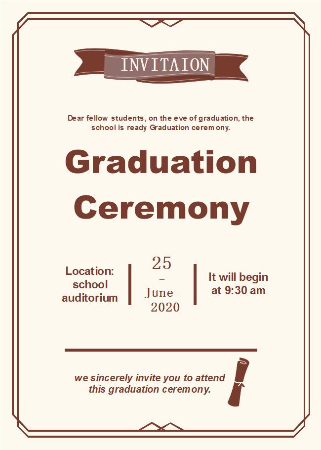 Invitation for Graduation Ceremony Fresh Graduation Ceremony Invitation