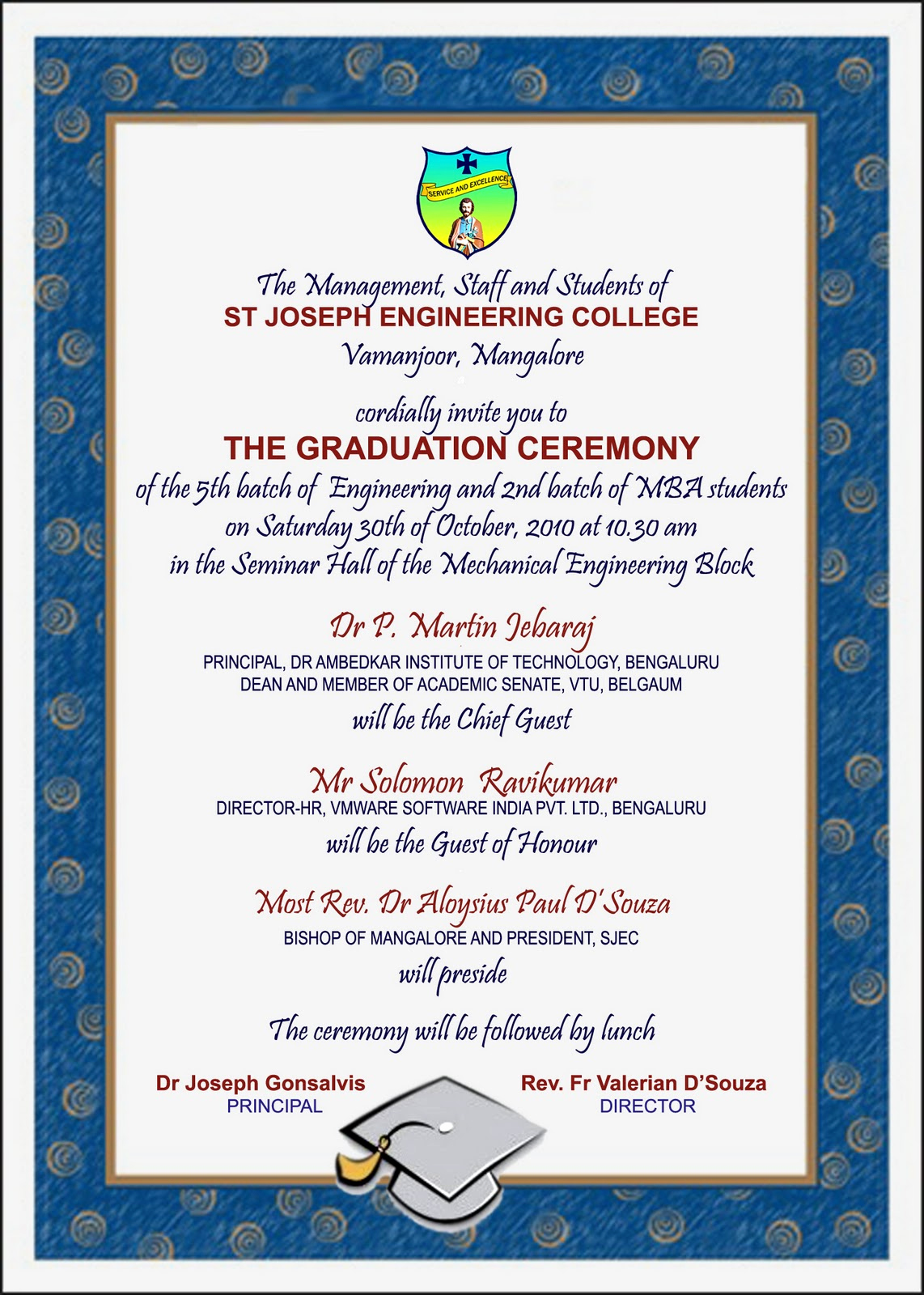 Invitation for Graduation Ceremony New Department Of Business Administration Invitation for the