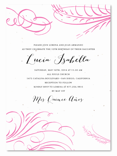 Invitation for Quinceaneras Samples Fresh Pink Quinceanera Invitations On Seeded Paper Floral