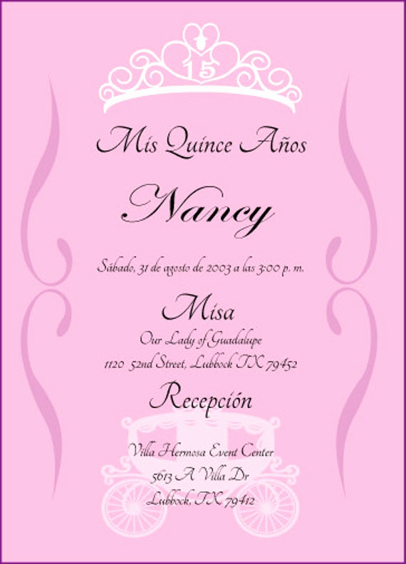 Invitation for Quinceaneras Samples Fresh Princess Quinceanera Invitation by Cecydesigns On Etsy
