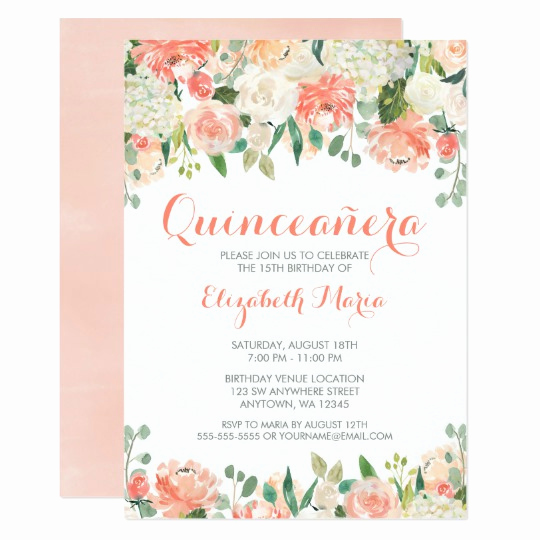 Invitation for Quinceaneras Samples Inspirational Pastel Watercolor Flowers Quinceañera Invitation
