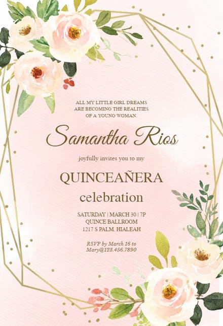 Invitation for Quinceaneras Samples Luxury Quinceañera Invitation Templates Free
