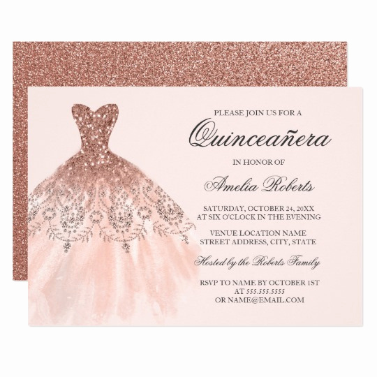 Invitation for Quinceaneras Samples Luxury Rose Gold Sparkle Dress Quinceanera Invitation