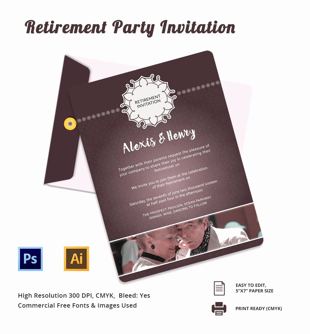 Invitation for Retirement Party Beautiful Retirement Party Invitation Template – 36 Free Psd format