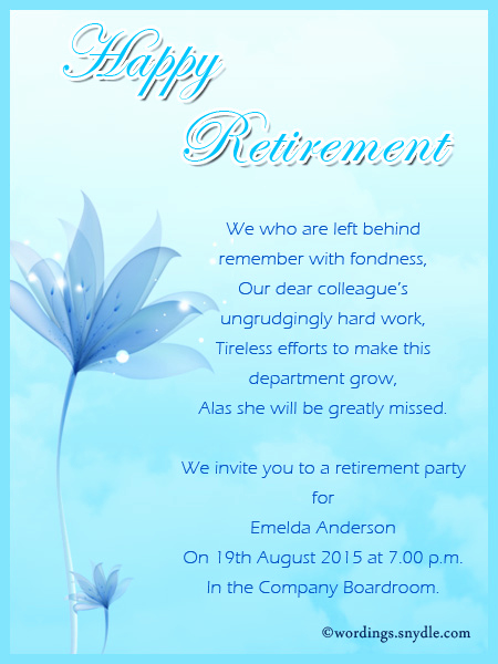 Invitation for Retirement Party Elegant Retirement Party Invitation Wording Ideas and Samples