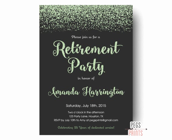 Invitation for Retirement Party Fresh Mint Glitter Retirement Party Invitation Retirement Party
