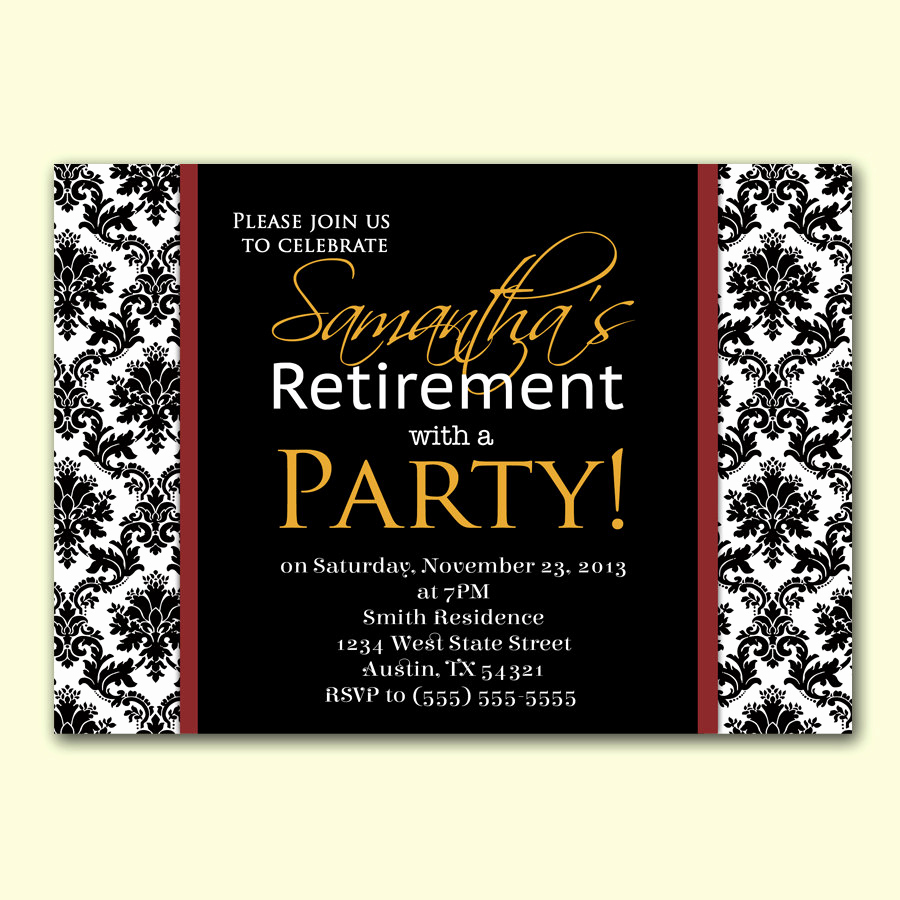 Invitation for Retirement Party Fresh Womans Retirement Party Invitation Damask formal by