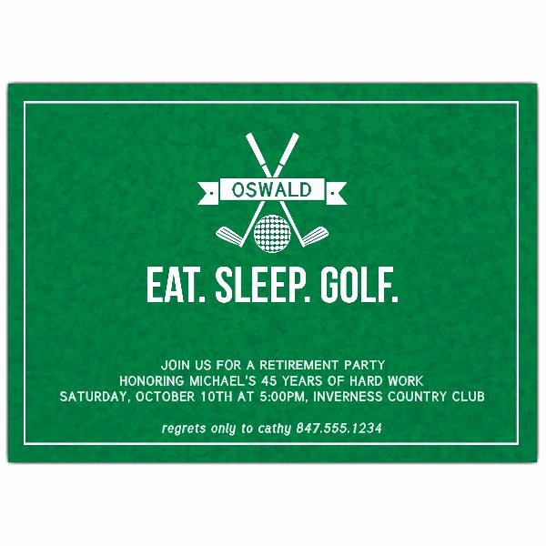 Invitation for Retirement Party Lovely Eat Sleep Golf Retirement Party Invitations
