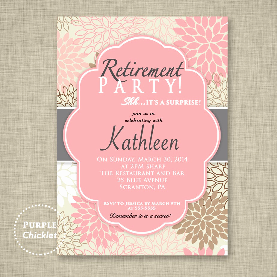 Invitation for Retirement Party Luxury Surprise Retirement Party Invitation Pink Adult Surprise Party