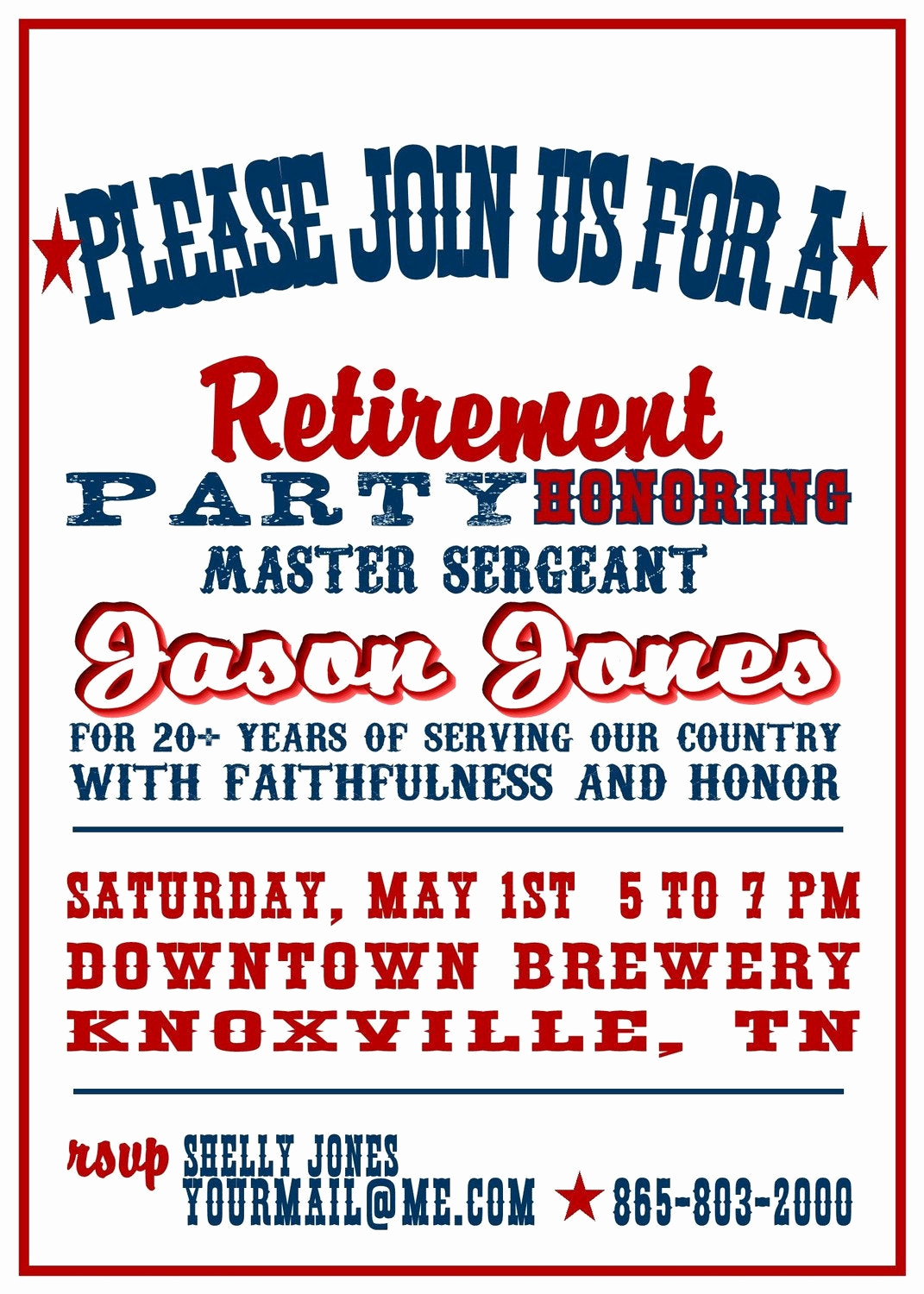 Invitation for Retirement Party New Red White and Blue Military Retirement Party Invitation