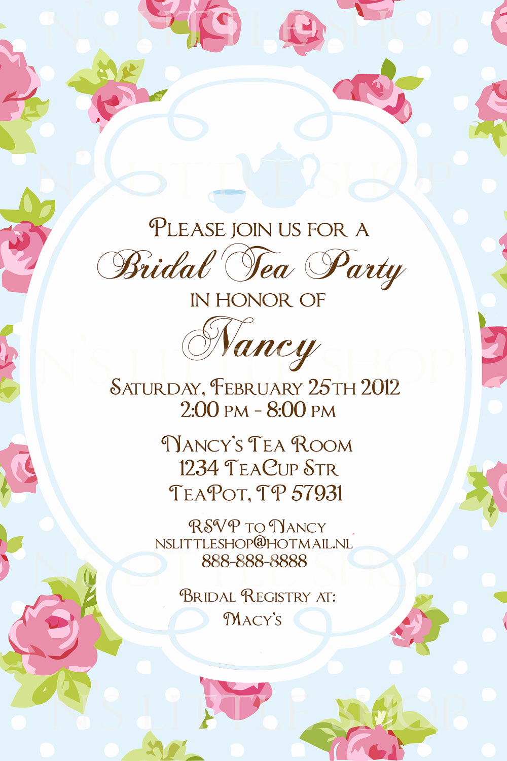 Invitation for Tea Party Awesome English Rose Tea Party Invitation Card by Nslittleshop