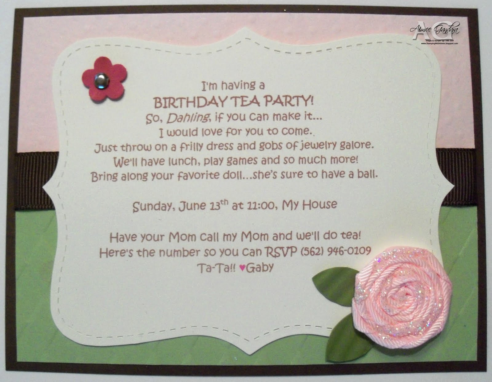 Invitation for Tea Party Awesome Stamping with Aimee Tea Party Invitations