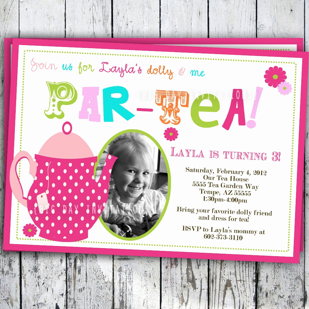 Invitation for Tea Party Awesome Tea Party Birthday Invitation Tea Party Birthday Invite