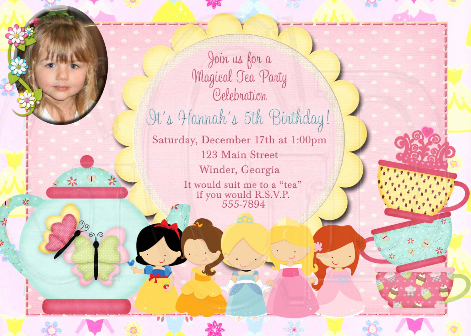 Invitation for Tea Party Awesome Tea Party Invitation Birthday Princess Tea Digital File
