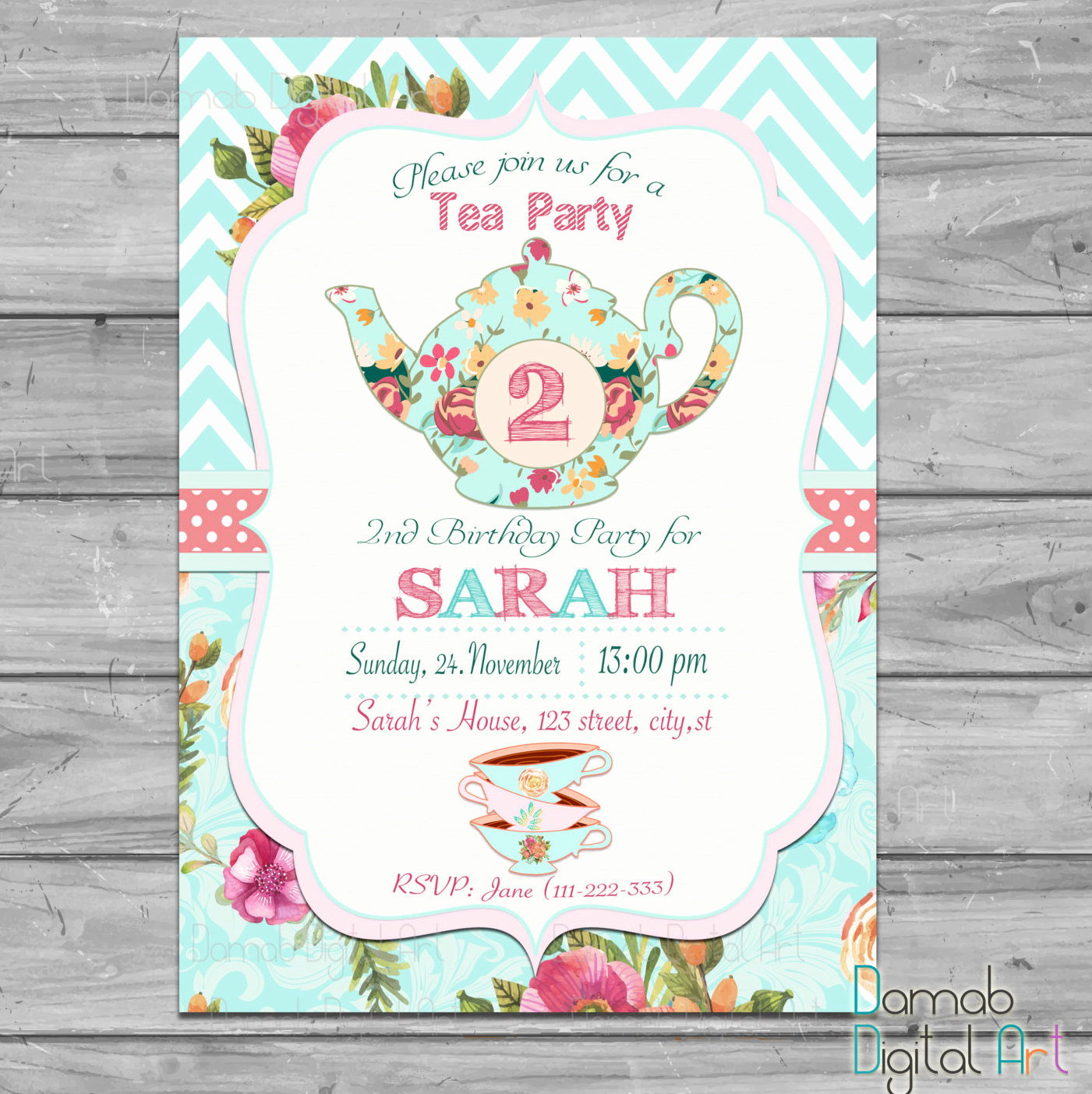 Invitation for Tea Party Awesome Tea Party Invitation Tea for Two Invitation Tea for 2