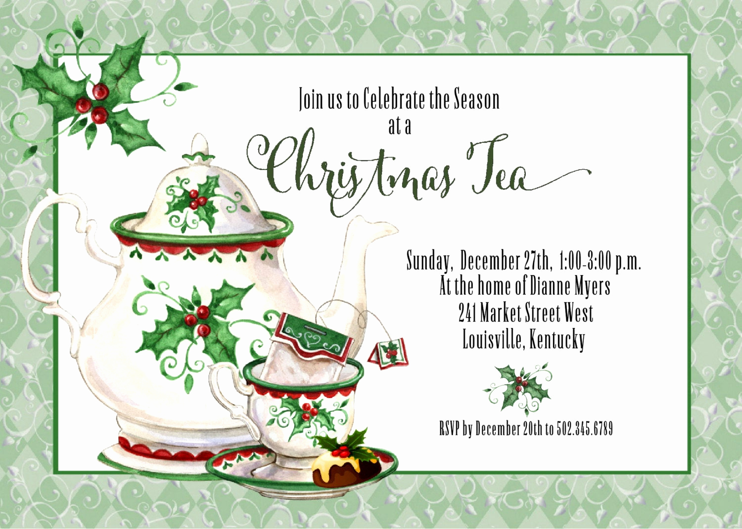 Invitation for Tea Party Best Of Holiday Tea Invitation Christmas Tea Invitation Tea Party