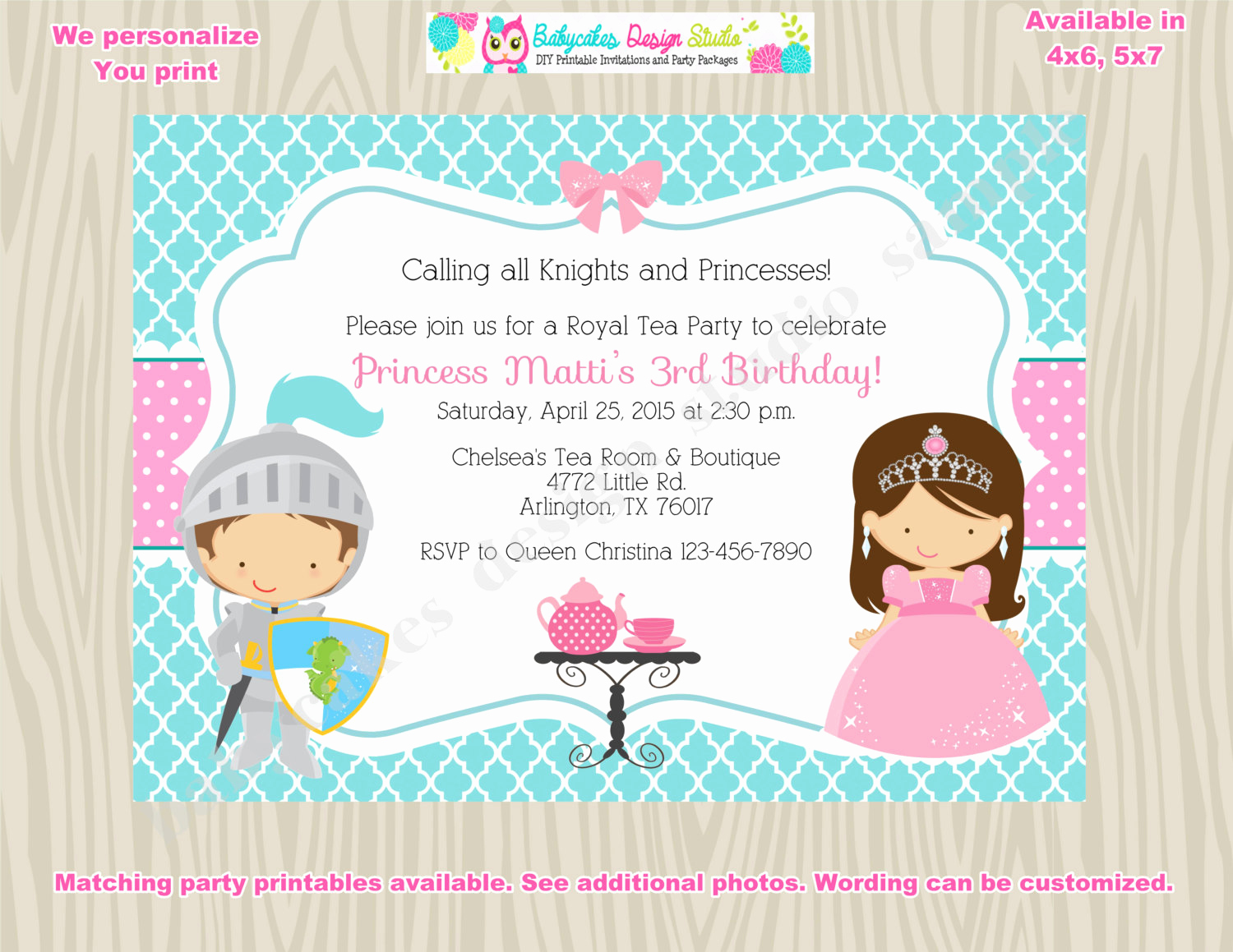 Invitation for Tea Party Best Of Royal Tea Party Birthday Invitation Invite Knights and