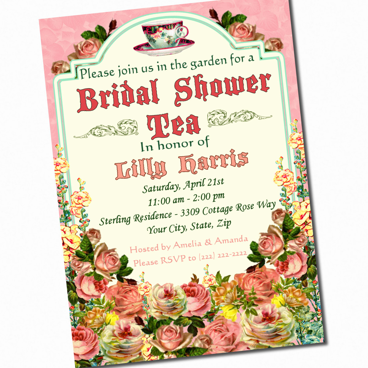 Invitation for Tea Party Best Of Tea Party Bridal Shower Invitation Custom 5 X 7 by